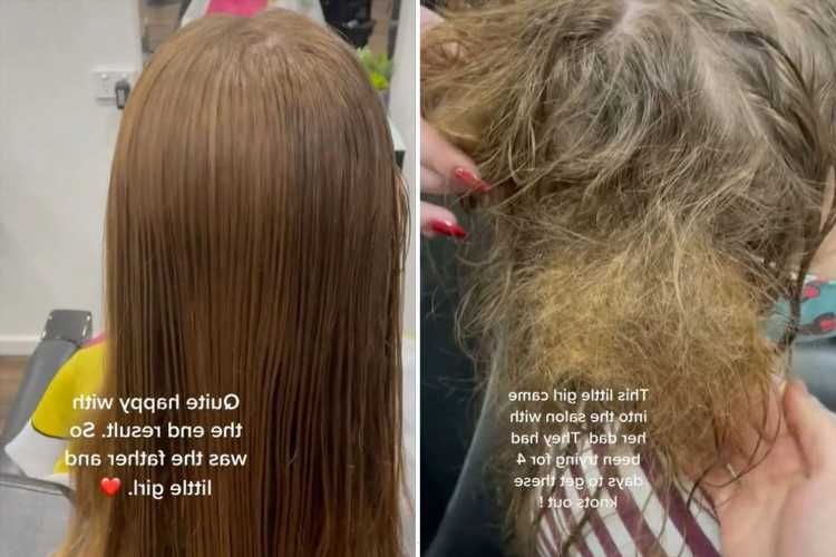 Hairdresser comes to little girl's rescue after dad tries for four days to get huge knots out of her hair