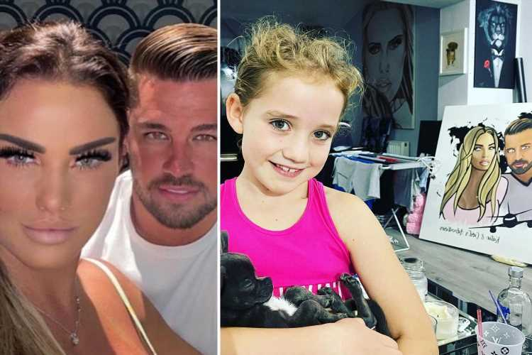 Katie Price reveals fiance Carl's VERY messy house as daughter Bunny, 7, poses next to a half-drunk bottle of vodka