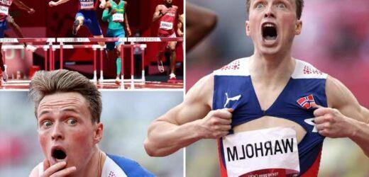 Norway sprinter Karsten Warholm rips shirt like Superman after stunning 400m hurdles where TWO men broke world record