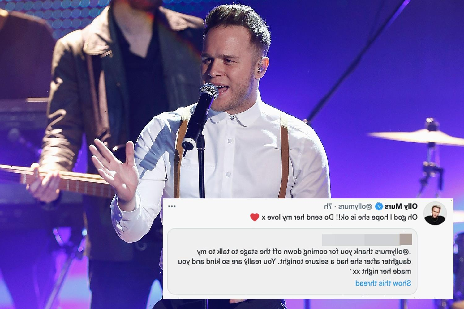 Olly Murs praised by fans after checking on girl having a seizure midway through his huge gig