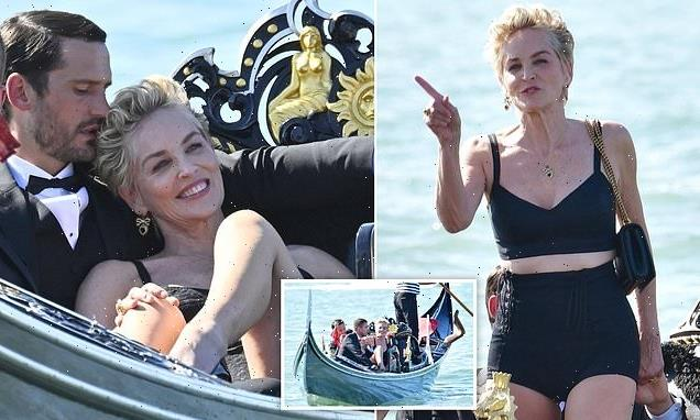 Sharon Stone, 63, poses on a gondola during a D&G photoshoot in Venice