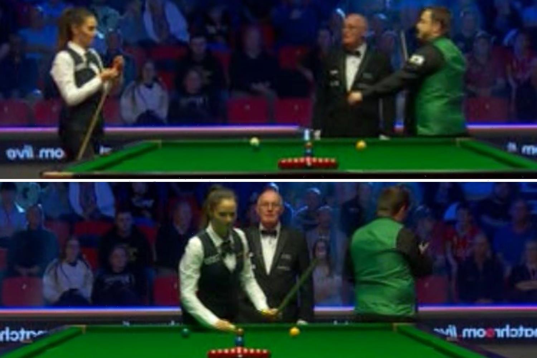 Snooker star Reanne Evans SNUBS Mark Allen fist-bump offer as warring exes meet at the British Open