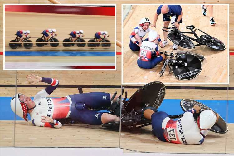 Team GB set world record in cycling team pursuit… and then CRASH into each other while celebrating