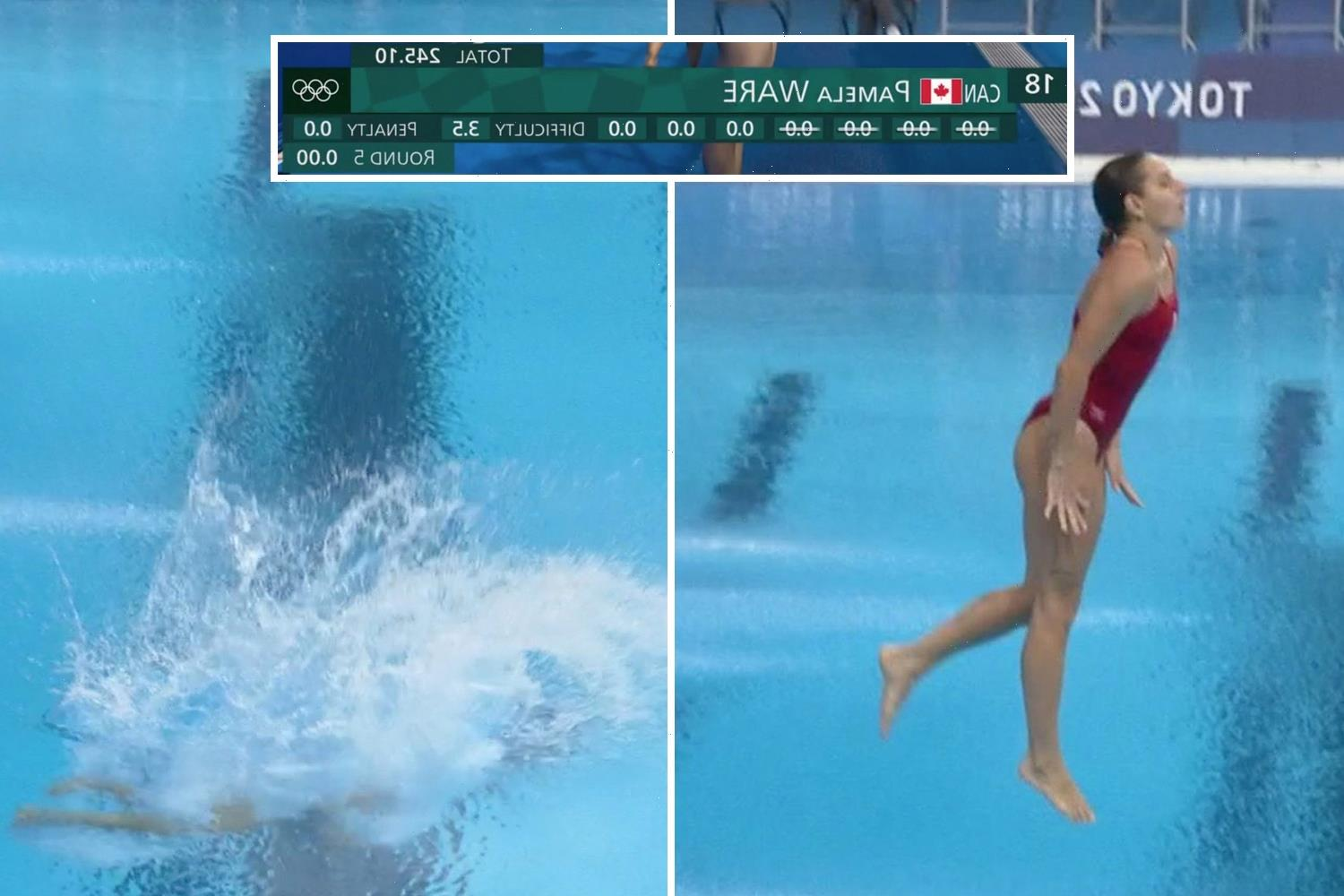 Watch Canadian diver score 0.0 at Olympics as she lands in pool feet first after pulling out of move over safety concern