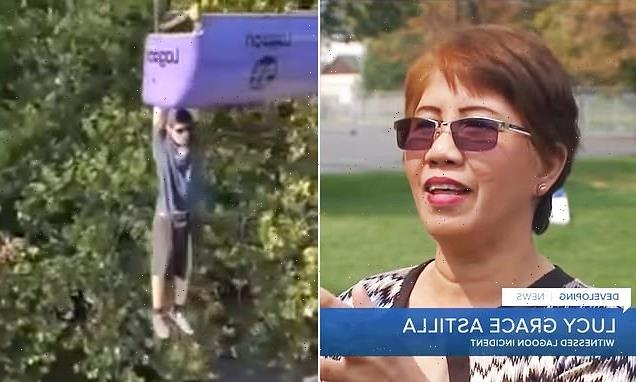 Woman who filmed man hanging from ride says she tried to stop it