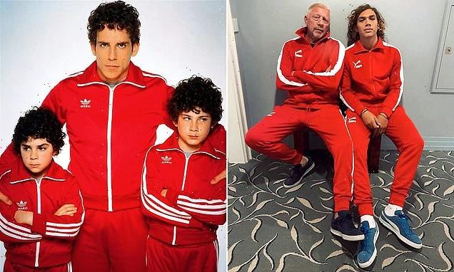 Boris Becker and son Elias pose in red tracksuits