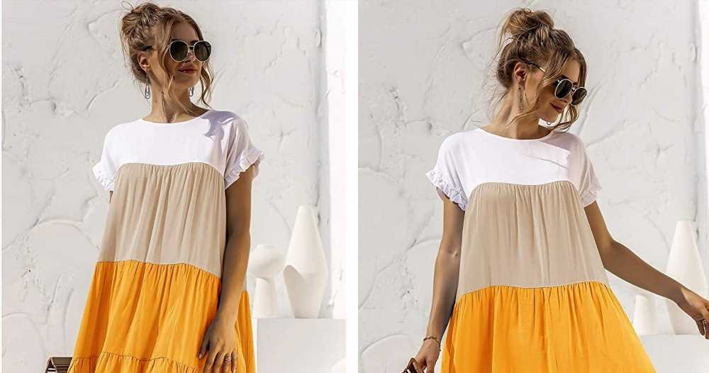Celebrate the End of Summer in This Adorable Color-Block Dress