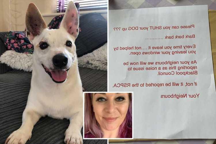 Charity volunteer, 35, left in tears as neighbours sent furious note demanding she 'shut up' her sick dog
