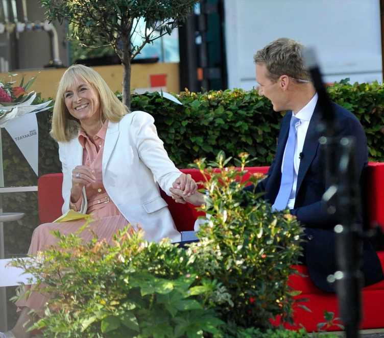 Emotional Louise Minchin holds hands with BBC Breakfast's Dan Walker as she leaves the show for the final time