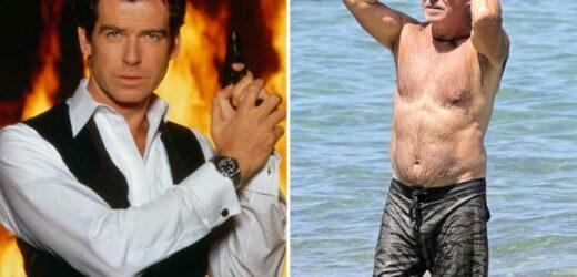 Former James Bond Pierce Brosnan, 68, shows off fit figure as the beach