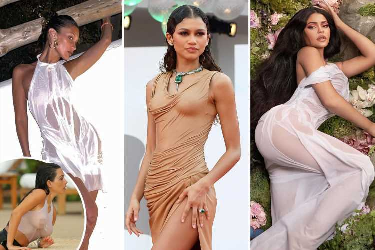 From Kim Kardashian to Zendaya & Kylie Jenner – how the wet t-shirt look has made its way from car wash to  red carpet