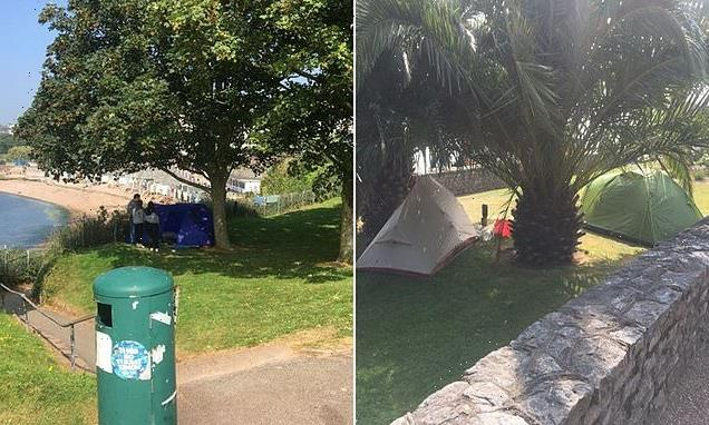 Fury as tourists pitch tents on Torquay's famous promenade