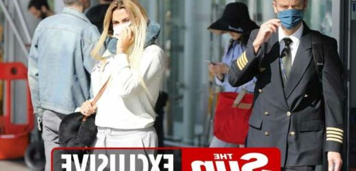 Katie Price and Carl Woods leave airport separately as she shows off new hair and he flashes 3rd tattoo of her face