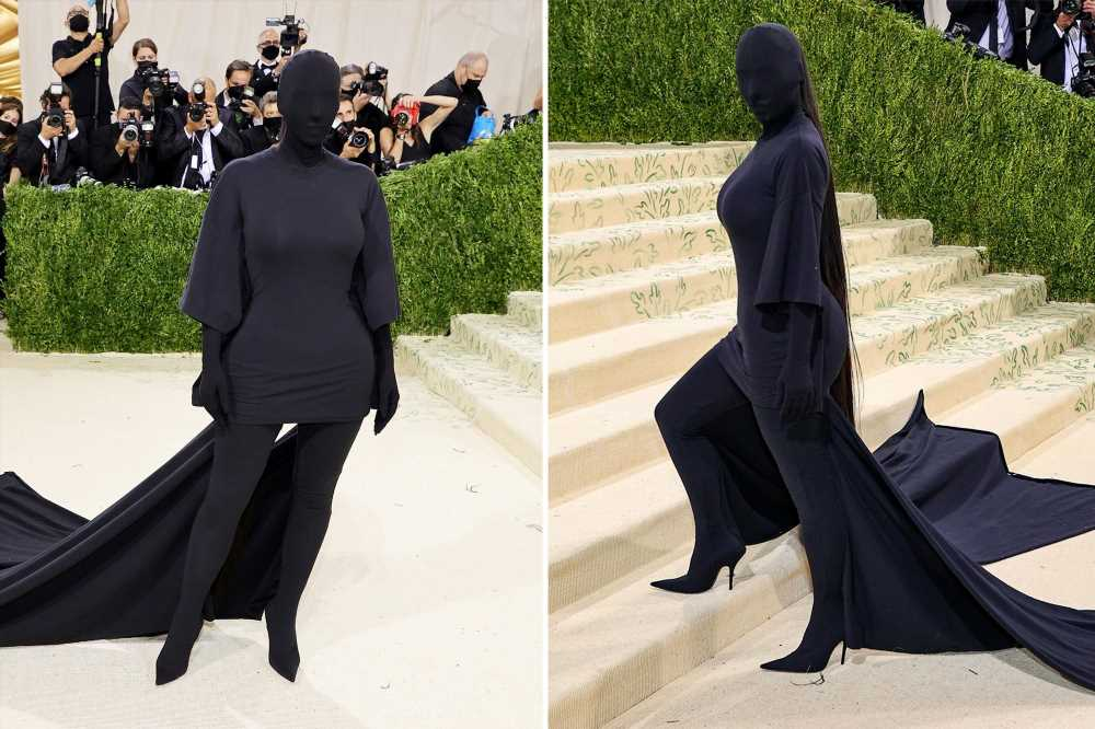 Kim Kardashian nods to Kanye with face-obscuring mask at Met Gala 2021