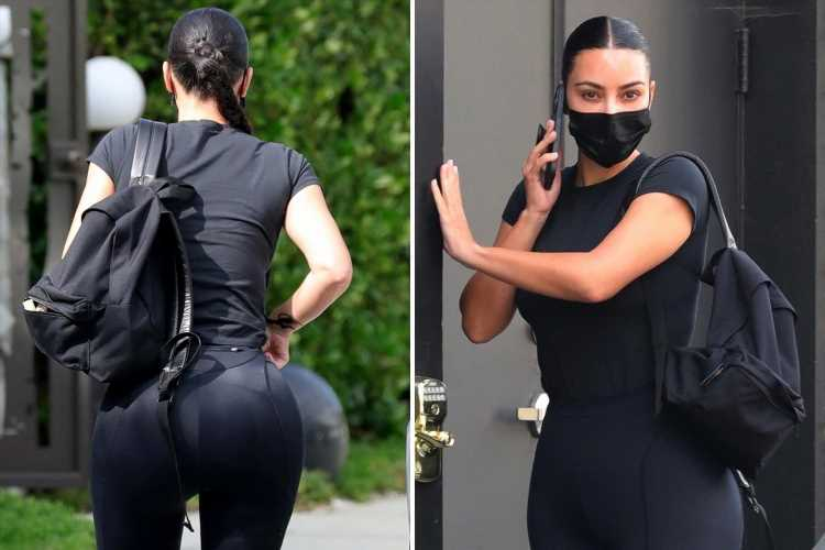 Kim Kardashian shows off famous bum in skintight black leggings after fans think she got her 'butt fillers removed'