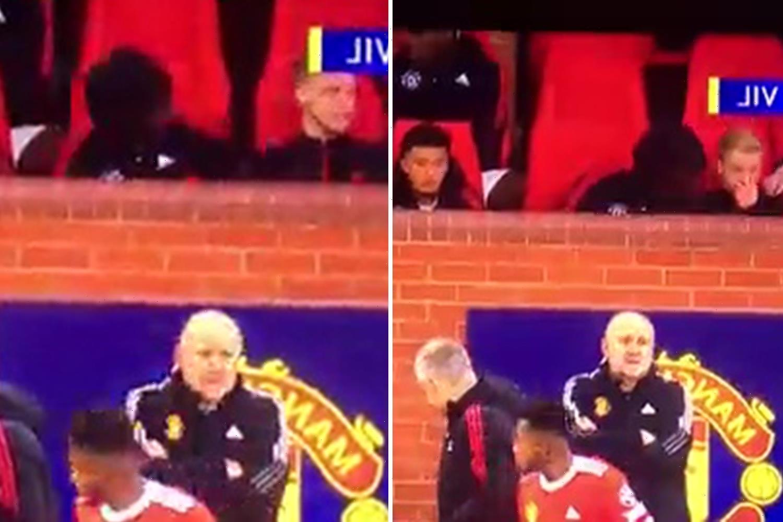 Man Utd fans spot furious Donny van de Beek throwing CHEWING GUM in dugout after Solskjaer snubs him in favour of Fred