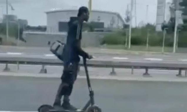 Man is filmed riding E-scooter on the A13 in east London