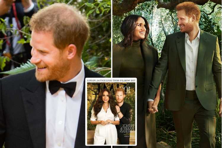 Prince Harry's bald spot has been PHOTOSHOPPED in glitzy Time magazine cover shoot, fans claim