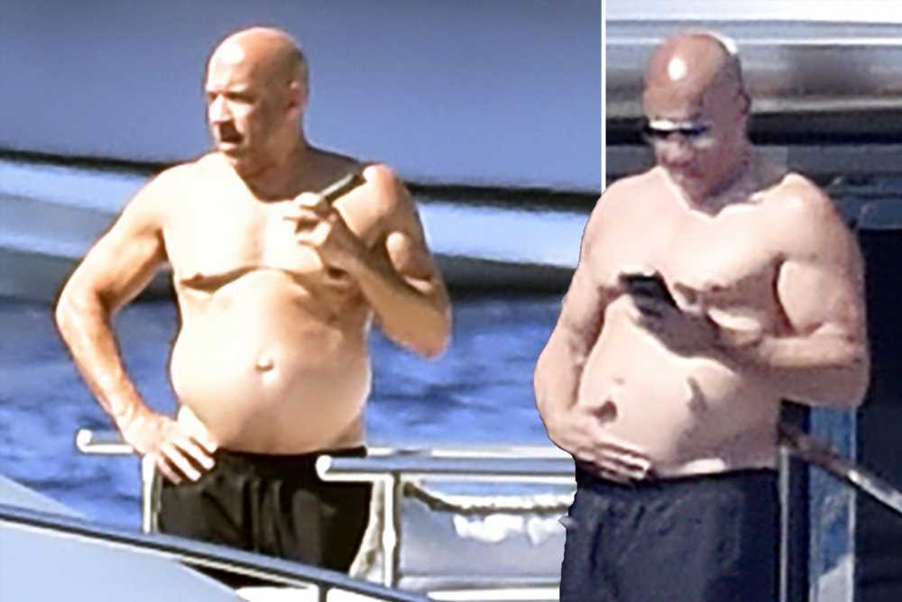 Shirtless Vin Diesel catches some sun on a luxury yacht in Italy