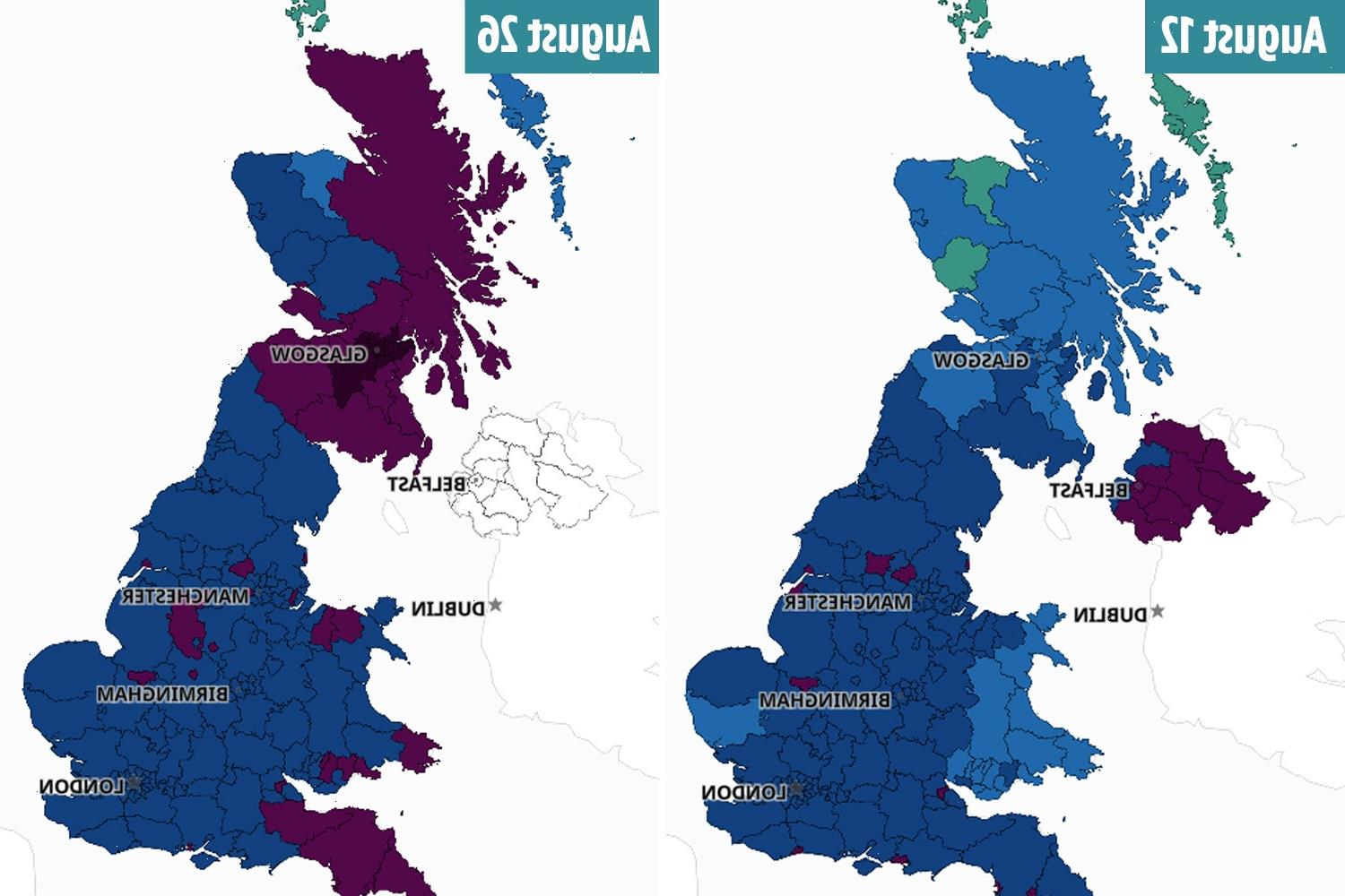 Shocking timelapse maps show how fourth Covid wave is coming for England and Wales