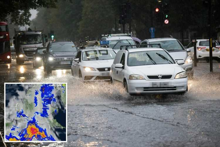 UK weather: Floods hit London as heavy rain sweeps across Britain with power outage warnings – but sun is on the way
