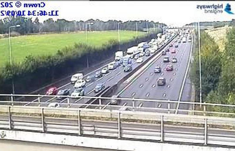 Weekend getaway travel chaos with EIGHT-MILE queues on M25 and long tailbacks on M6 and M1 sparking driver fury