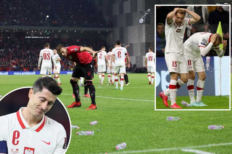 Albania vs Poland suspended as Robert Lewandowski & Co walk off pitch after being pelted with bottles from home fans