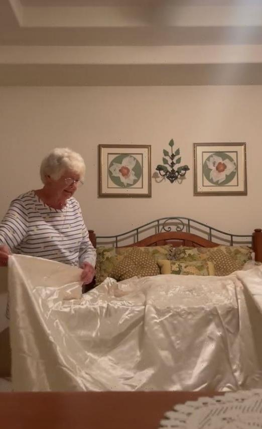 Gran in tears seeing wedding dress she married late husband in 65 years on… then breaks down as granddaughter puts it on