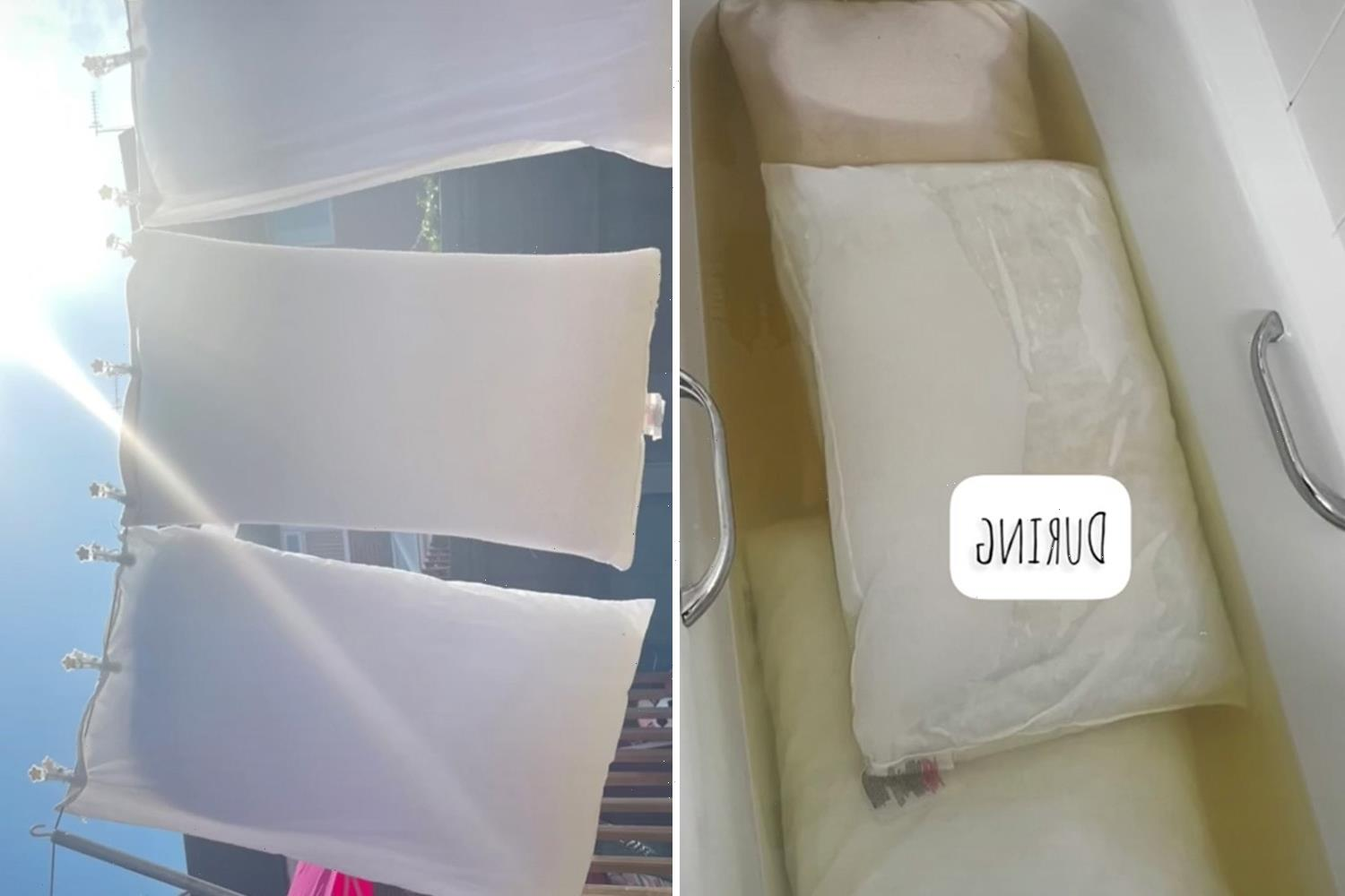I cleaned my husband's sweatstained pillows for the first time, I had to let them soak for TWO hours