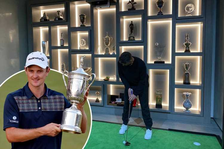 Inside Justin Rose's amazing trophy room with backlit wall-to-wall cabinet to display career achievements