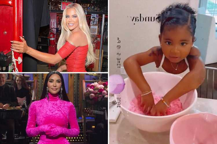 Khloe Kardashian shows off 3-year-old daughter True's arm 'tattoos' after star supports sister Kim on SNL in New York