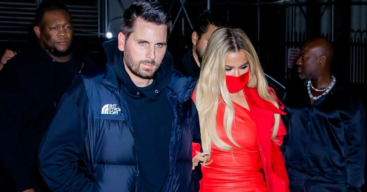 Khloe Kardashian sizzles in red minidress as she links arms with Scott Disick for SNL after-party