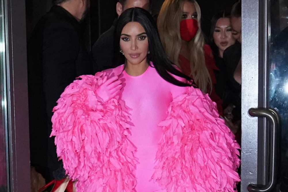 Kim Kardashian goes glam in pink ruffles for 'SNL' afterparty