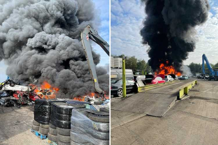 M6 delays: Massive recycling plant fire sparks huge delays on motorway as thick black smoke spews into the air