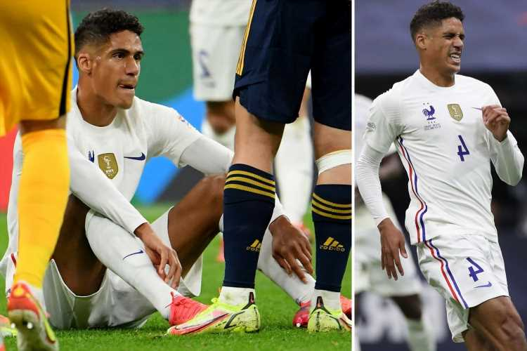 Man Utd dealt massive blow after Raphael Varane forced off in the first-half of Nations League final with injury