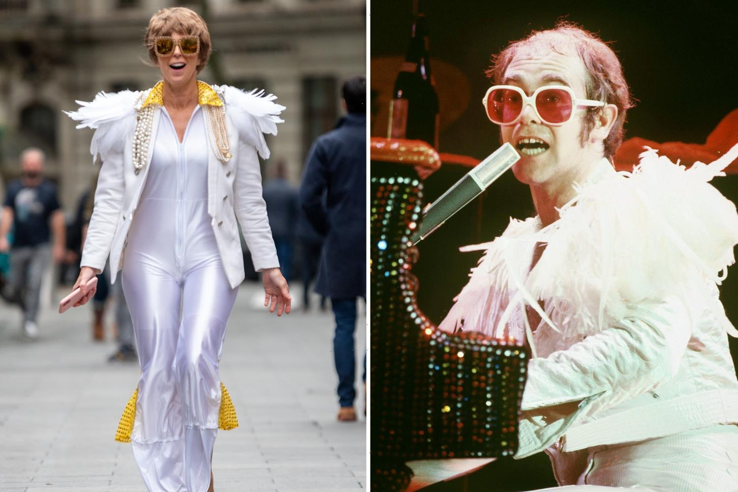 TV star is unrecognisable in fancy dress as Elton John – but can you guess who it is?